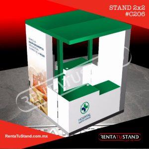 stand en madera C206 en formato ISLA de 2x2